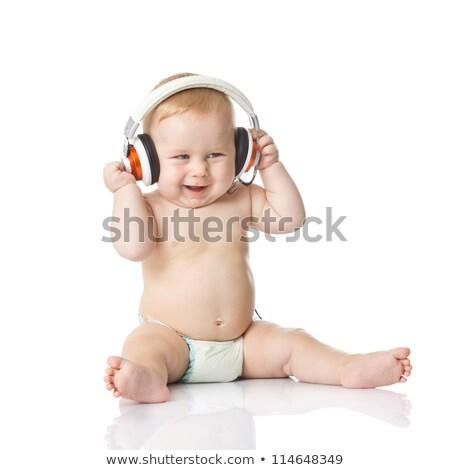 baby with headphone. young DJ Stock photo © EwaStudio