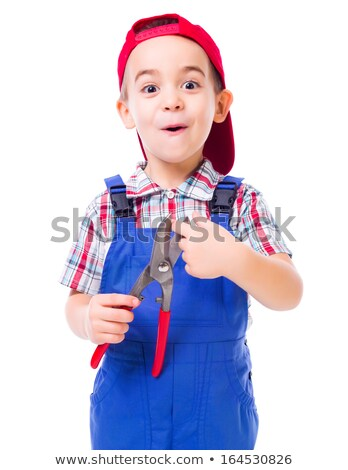 Boy showing shear cutting scissors hazard Stock photo © icefront