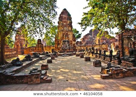 Tempel Bangkok Thailand steen standbeeld godsdienst Stockfoto © meinzahn