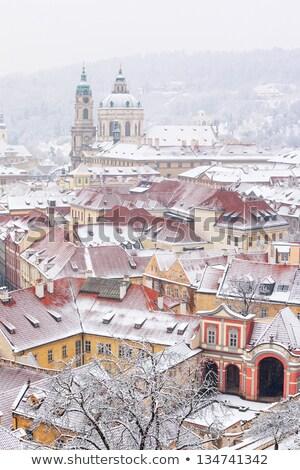 Prague winter rooftop view Stock photo © Nejron