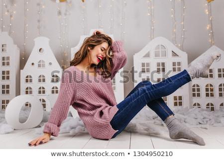 jonge · charmant · blond · trui · jeans - stockfoto © zastavkin