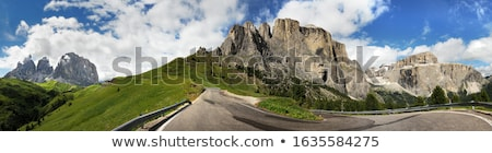 Alpin hut at Passo Pordoi with Sella Group, Dolomites, Italian A Stock photo © fisfra
