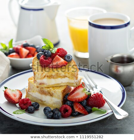 stuffed french toast bread on plate with blueberry stock photo © ozgur
