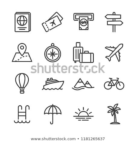 conjunto · camping · viajar · ícones · fino · linha - foto stock © timurock