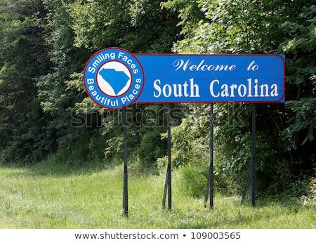 Welkom South Carolina teken kaart reizen verkeersbord Stockfoto © AndreyKr