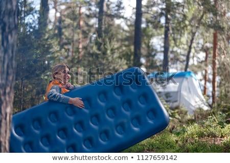 menina · natação · ar · colchão · beleza · verão - foto stock © deandrobot