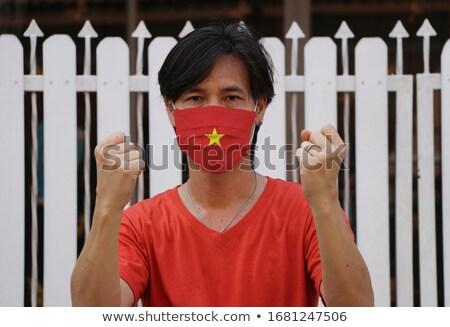 Vietnam bayrak gömlek iş adamı adam Stok fotoğraf © fuzzbones0