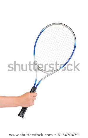 portré · fitt · nő · sportruha · tart · teniszütő - stock fotó © deandrobot