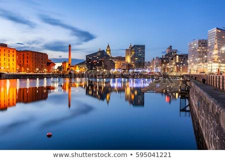 Liverpool aquarela arte imprimir linha do horizonte urbano Foto stock © chris2766