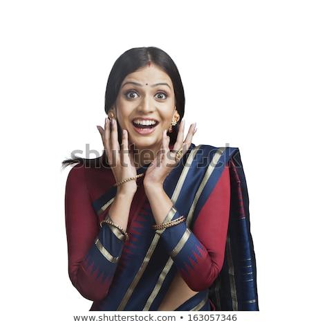 Tradicionalmente indiano mulher olhando surpreendido belo Foto stock © imagedb