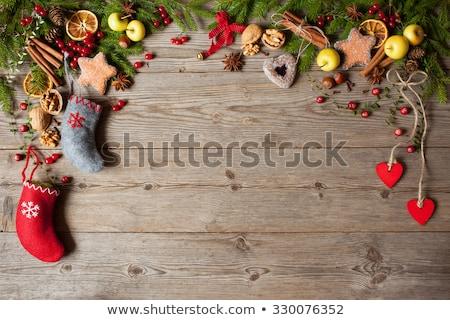 walnuts on a christmas rustic background stock photo © zoryanchik