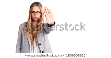 Beautiful Serious Blonde Customer Support Woman Stock photo © feverpitch