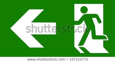Notfall exit sign Holz Planke Wand grünen Stock foto © stevanovicigor