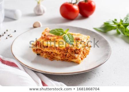 lazanya · mantar · sığır · eti · yukarı · plaka · öğle · yemeği - stok fotoğraf © digifoodstock