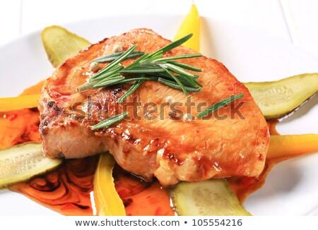 sült · disznóhús · kotlett · sültkrumpli · zöld · saláta - stock fotó © digifoodstock