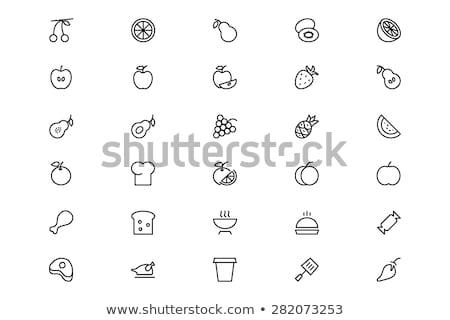 teljes · kiőrlésű · kenyér · vonal · ikon · vektor · izolált · fehér - stock fotó © rastudio