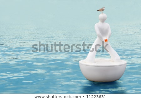 буй подобно человека Чайки Барселона порта Сток-фото © artjazz
