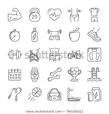 Fitness gym and healthy lifestyle flat thin line vector icons Stock photo © vectorikart