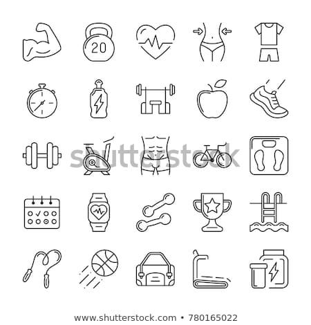 Fitnessz tornaterem egészséges életmód vékony vonal vektor Stock fotó © vectorikart