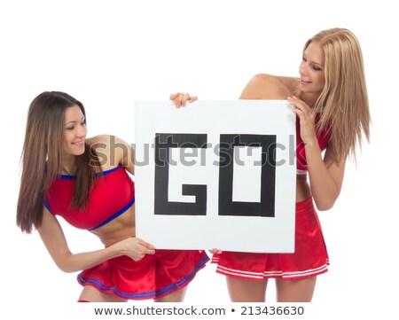 Csinos pompomlány illusztráció fehér tánc háttér Stock fotó © bluering