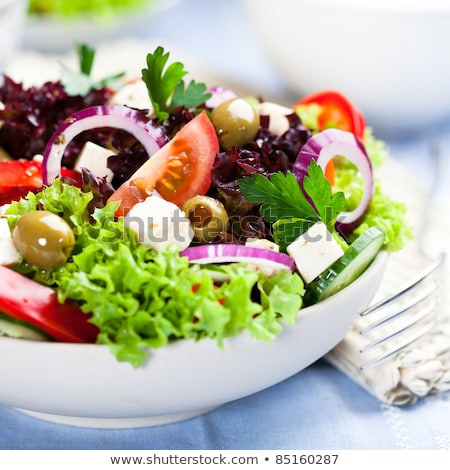 Stockfoto: Plantaardige · salade · groene · olijven · kaas · bladeren
