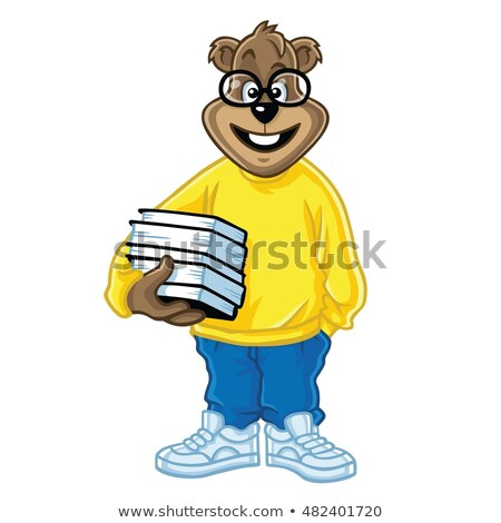 Nerd tener libros Cartoon Foto stock © doddis