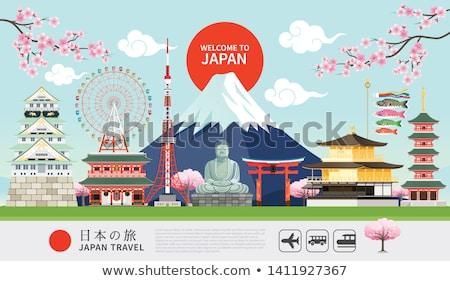 Buddha hegyek vektor tájkép zöld dombok Stock fotó © ConceptCafe