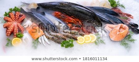 Sea Bass With Prawns And Parsley Stok fotoğraf © vichie81