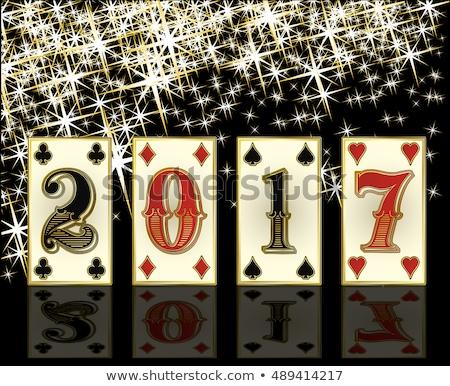 New 2017 Year casino background with poker elements, vector illustration Stock photo © carodi