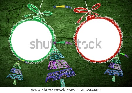 Cute Christmas card with two empty photo frames Stock photo © marimorena