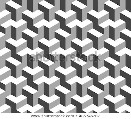 アイソメトリック · 3D · 錯覚 · 黒 · テクスチャ - ストックフォト © almagami