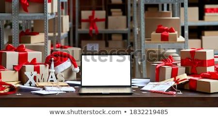 Karácsony szállítmány kisteherautó ajándék fehér 3d illusztráció Stock fotó © limbi007