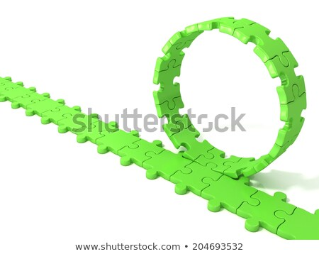 Green puzzle ring rotating over puzzle chain Stock photo © djmilic