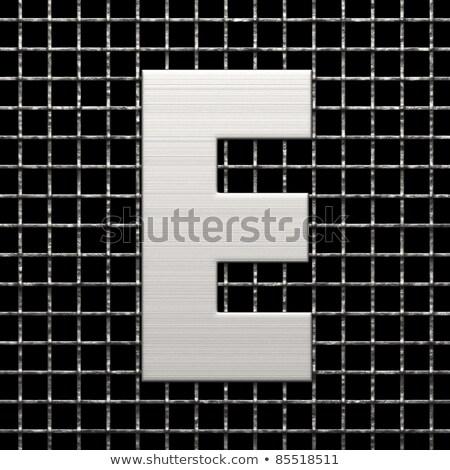 Metal lattice font letter E 3D Stock photo © djmilic