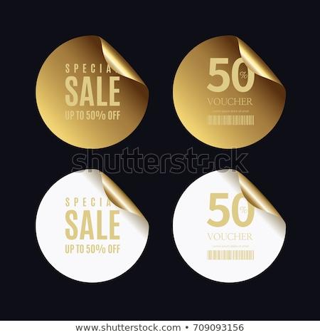 Akció arany címke szalag pénz hát Stock fotó © SArts
