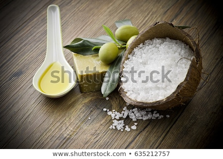 fresh olive branch and bath salt spa stock photo © joannawnuk