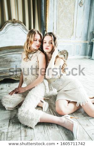 Twee mooie tweeling zus blond gekruld Stockfoto © iordani