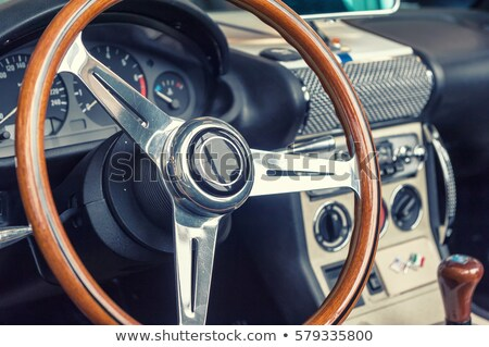 Retro autó klasszikus kormánykerék sebességmérő szalon Stock fotó © IMaster