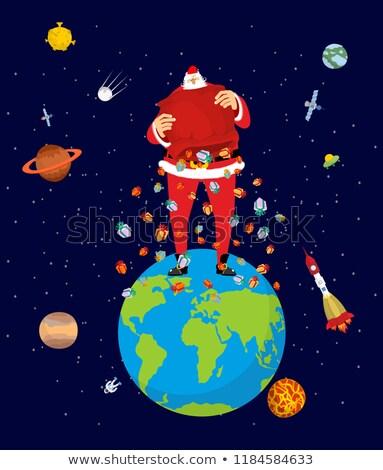 mikulás · manó · piros · táska · felhők · karácsony - stock fotó © popaukropa
