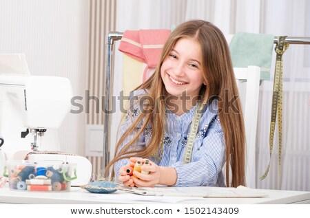 Genç kız nakış örnek genç kız çalışma Stok fotoğraf © lenm