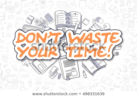 time for motivation   cartoon orange word business concept stock photo © tashatuvango