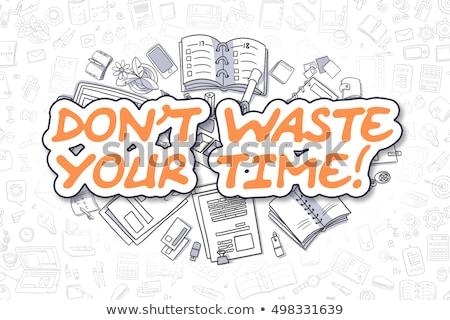 Tiempo motivación Cartoon naranja palabra negocios Foto stock © tashatuvango
