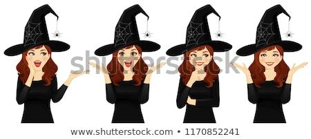 érzelmes elképesztő fiatal nő boszorkány halloween jelmez Stock fotó © deandrobot