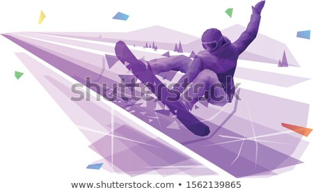 Female snowboarder jumping with a grab Stock photo © IS2