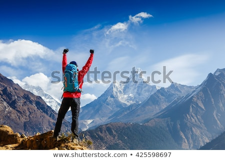 Climber celebrating on mountain peak Stock photo © IS2