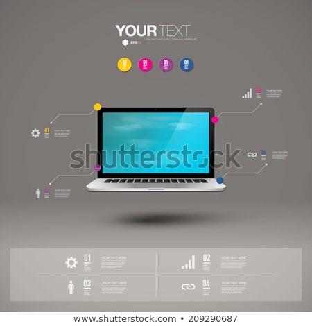Laptop képernyő technikai támogatás 3D modern konferenciaterem Stock fotó © tashatuvango