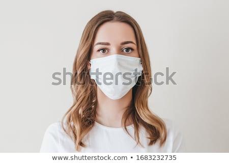 jonge · vrouw · carnaval · masker · geïsoleerd · witte · gezicht - stockfoto © elnur