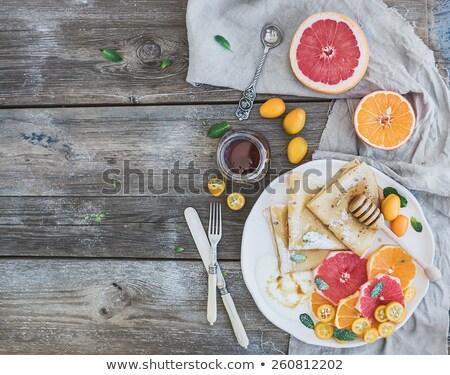 自家製 クレープ 木材 背景 朝食 調理 ストックフォト © M-studio