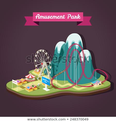 cirkusz · illusztráció · rajz · kék · ég · nyár · zászló - stock fotó © studioworkstock