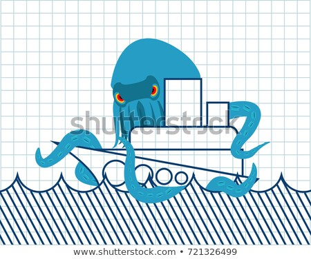 Octopus and ship drawn. Vessel and monster. Scary poulpe. Notebo Stock photo © popaukropa